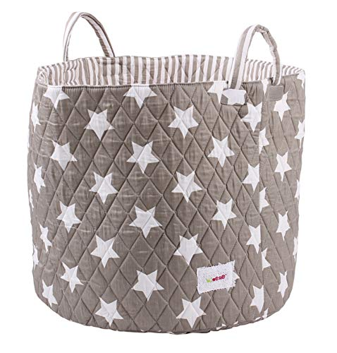 Cotton Storage Basket – Award winning Large Collapsible Portable Wipe Clean Cotton Basket, Baby Nursery Organiser for Storage, Kid Storage, Blankets, Clothes, Towels and Toys, Grey Stars