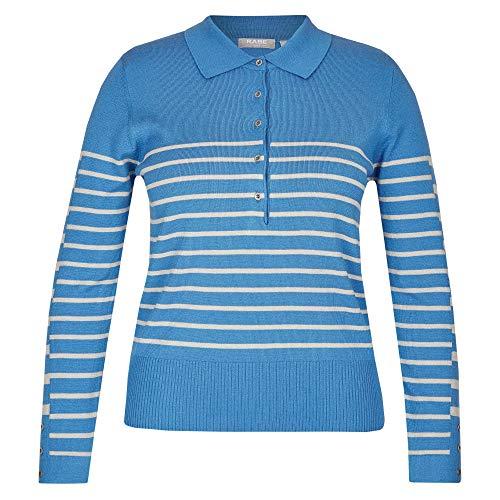 Rabe 43-323651 gebreide trui voor dames met polokraag en knoopsluiting op de kraag