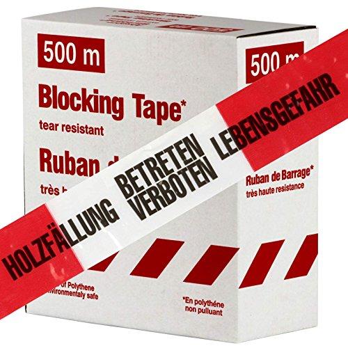 Holzfällung Lebensgefahr 500m Absperrband, Flatterband, Warnband Absperr-Warnband rot-weiß 80 mm extrem reißfest
