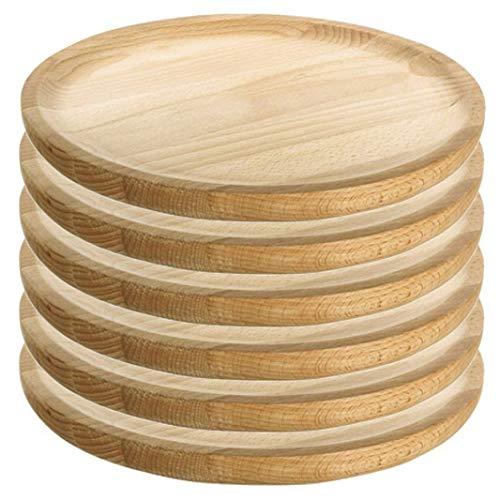 Ruibal - Holzteller Rund - Holzplatte - Kiefer - Set 6 - Ø 28 cm
