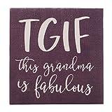 P. Graham Dunn TGIF Grandma Plum Purple 3.375 x 3.375 Pine Wood Mother's Day Decorative Plaque