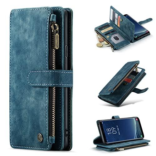 per Samsung Galaxy S8Plus Custodia a portafoglio in pelle PU Flip Cover con Magnetica Pulsanti, Slot per Schede, Slot per contanti, Tasca con cerniera e Cornice per foto (blu)