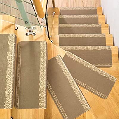 VOCOOL Pack of 5 Carpet Stair Treads, Anti-Skid Stairs Rug, Non-Slip Floor Step Mats, Cuttable, Seamless Adhesive Pad