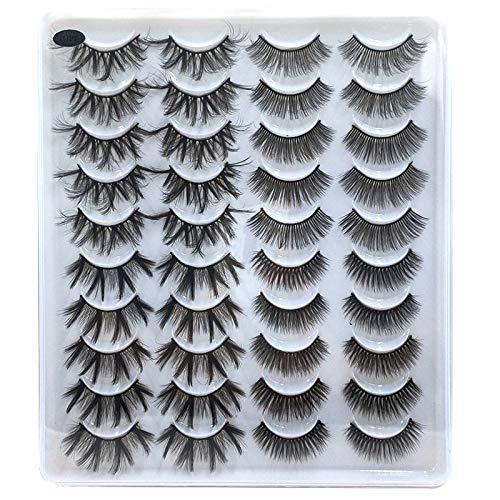 Mix Style 20 Pairs False Eyelashes Fake Eyelashes Long, Thick, Curly, Dramatic, Natural Volume Eyelash Extensions 3D Makeup Kit (01)
