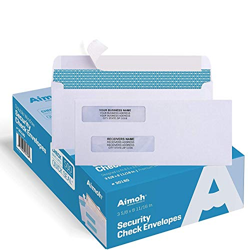 500#8 Double Window Self Seal Security Envelopes - for Business Checks, QuickBooks & Quicken Checks, Size 3 5/8 x 8 11/16 Inches - Checks Fit Perfectly - Not for Invoices, 500 Count(30180)