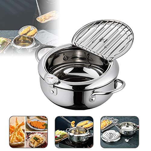 Deep Frying Pan,Japanese StyleTempura Fryer Pot,Mini Deep Fry Pan with Drainer,Non-stick coating Frying Pan with Thermometer,Lid And Oil Drip Drainer Rack for Kitchen Cooking 24cm/304