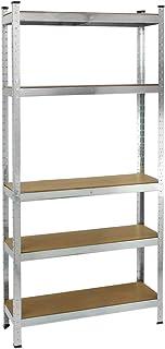 PrimeMatik - Estanteria metálica galvanizada para almacenar de 5 baldas de Madera 70x30x150 cm