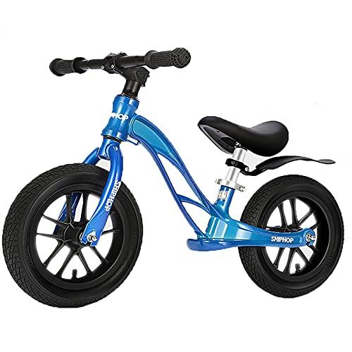 Lqdp Bicicleta Sin Pedales Bicicletas de Equilibrio para niños de 3 años, neumáticos de Aire de 12 Pulgadas Negros con Asiento y reposapiés Ajustables, Bicicletas Azules sin Pedal para niños/Grils