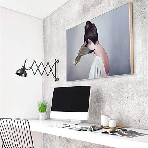 Nordic kunstmuur kamer schilderen ins levende versiering van de zaal schilderij moderne minimalistische warme slaapkamer master bedroom bed horizontale tekening (70 * 40cm) (Color : Silver)