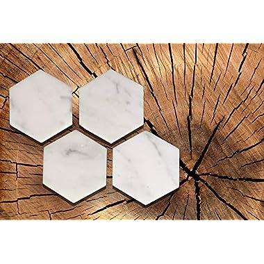 Hexagon White Marble Coasters Italian White Carrara ( Set of 4 )