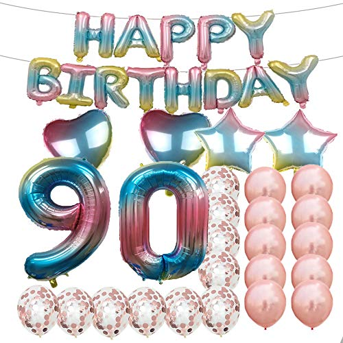 Sweet 90th Birthday Decorations Party Supplies,Rainbow Number 90 Balloons,90th Foil Mylar Balloons Latex Balloon Decoration,Great 90th Birthday Gifts for Girls,Women,Men,Photo Props