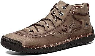 Bottines plates Oxford pour homme - Chaussures décontractées à enfiler - Coutures à la main - Cuir - Lacets - Kaki - 46EU