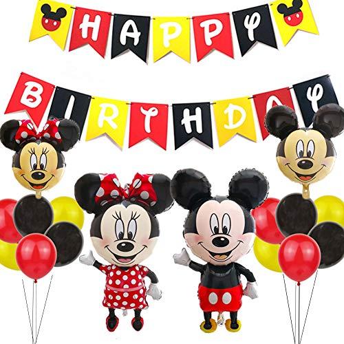 Los Artículos de la Fiesta de Cumpleaños de Mickey,Globos de Minnie Rojo y Negro Mickey Party Globos Decoraciones de Cumpleaños de Mickey Mouse para Party Bautizo Decoracion