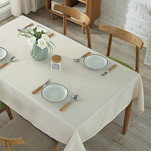 DJUX Tischdecke, dick, einfarbig, Hotel-Tischdecke, Restaurant, rund, Tischdecke für Veranstaltungen, Konferenz-Tischdecke, cremeweiß, 140x180Cm