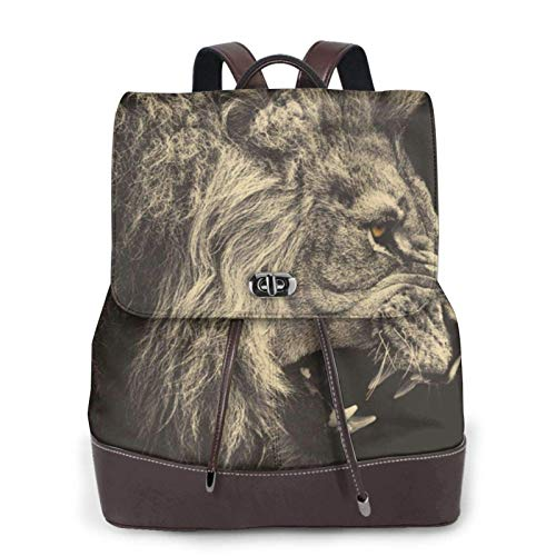 Women's Casual Leather Backpack Durable School Backpack, Cool Lion Printed Bookbag Fashion Travel Shoulder Bag