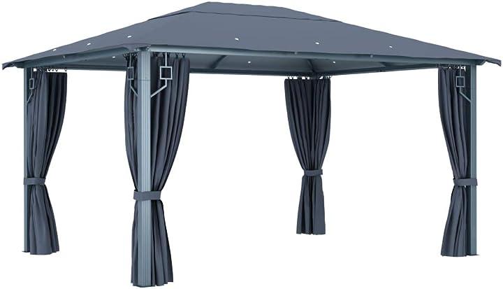 Gazebo padiglione da giardino esterno con tende richiudibile, tidyard GHP6735059841478BD