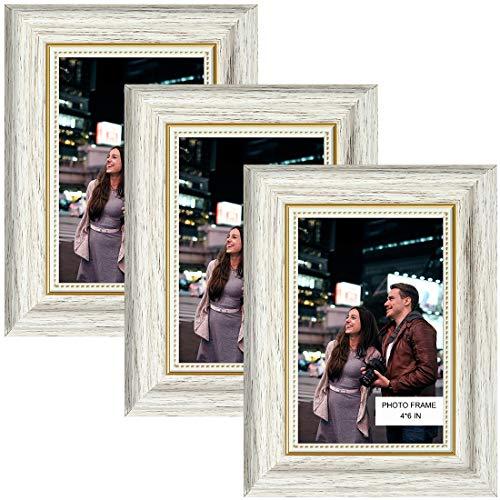 Marcos de fotos de 10 x 15 cm, 3 paquetes de marcos de fotos de madera blanco vintage con vidrio real de alta definición, marcos de fotos para exhibición de mesa y decoración de pared
