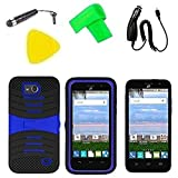 Hybrid Cover Case Phone Accessory + Car Charger + Screen Protector + Extreme Band + Stylus Pen + Pry Tool For ZTE Maven Z812 / ZTE Overture 2 LTE Z813 / ZTE Fanfare Z792 (S-Hybrid Black Blue)