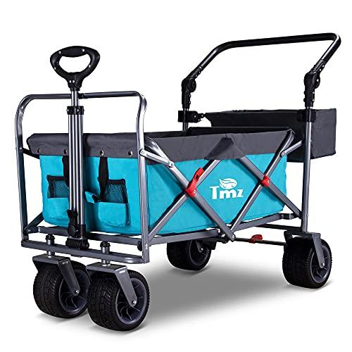 TMZ Faltbarer Bollerwagen All-Terrain Gartenwagen mit Fußbremse, Patentierter Breiter Auto-Reifen Klappwagen, 90 L Handwagen, 360 ° -Lenktransportwagen für Vorderrad , Last bis 120kg(Himmelblau)