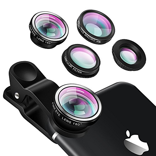Universal 4 in 1 Camera Lens Kit- Yarrashop Phone Lens Fish Eye Lens + 2 in 1 Macro Lens + Wide Angle Lens + CPL Lens for iPhone 6/6 Plus/6s/6s plus/5/5S/4/4S,iPad Air/Mini,Samsung Galaxy/Note (Black)