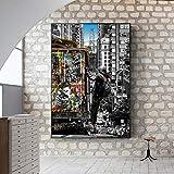 Graffiti Art Banksy Street Pinturas de paisajes de la ciudad de Londres Pinturas en lienzo Carteles e impresiones de arte pop para decoración del hogar 20x30cm Sin marco