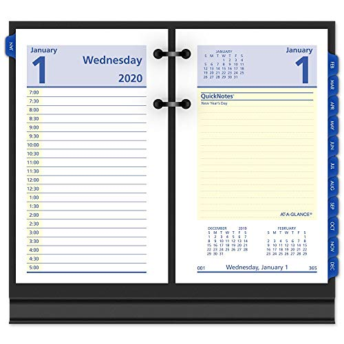 AT-A-GLANCE 2020 Daily Desk Calendar Refill, QuickNotes, 3-1/2