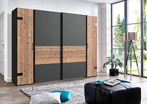 lifestyle4living Kleiderschrank in Silber-Tanne, Graphit-Grau, 270 cm, 2 Kleiderstangen, 10 Einlegeböden | Hochwertiger Industriedesign Kombi Schwebetürenschrank