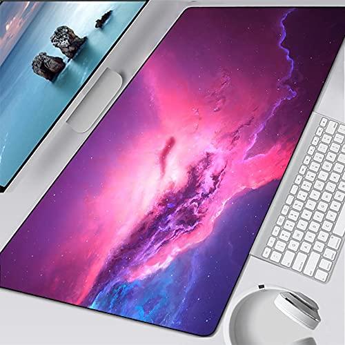 Alfombrilla de escritorio para ordenador 600x300x3mm Superficie Impermeable Base de Goma Antideslizante para Jugadores, PC y Portátiles,Alfombrilla de ratón extendida para Universo cielo estrellado co