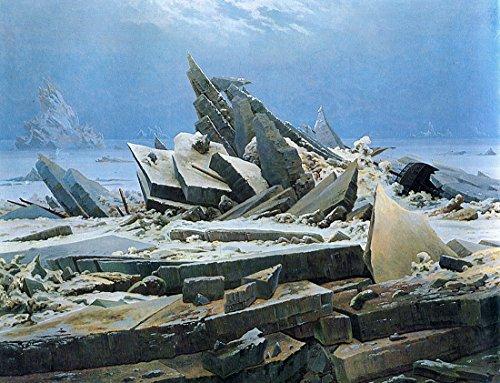El Mar De Hielo por Caspar David Friedrich. 100% pintado a mano óleo sobre lienzo. Reproducción de alta calidad. Envío gratuito (sin marco y sin estirar)., Same to the original, 28x22
