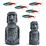 "SunGrow Neon Tetra Fish Aquarium Decor, Easter Island Statues, 7"" and 5"", Resin Replicas of World Famous Moai Figures, 2 Pcs"