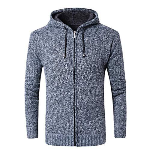BOLAWOO Stricken Hoodies Herren Mit Strickpullover Kapuze Pulli Sweater Warme Mode Marken Langarm Kapuzenpullover Casual Patchwork Farbe (Color : Blau2, Size : M)