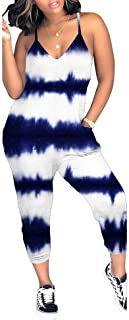Women's Plus Size Summer Tie Dye Jumpsuits Sleeveless Loose Long Pants Casual Jumpsuits Rompers