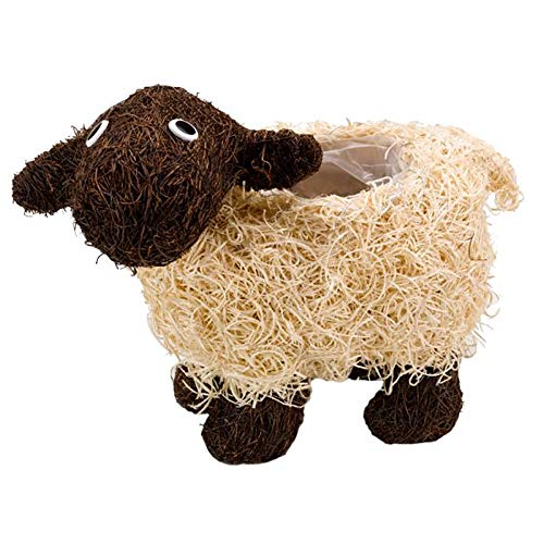 garden mile Shelley Sheep Flower Planters Novelty Rattan Straw Plant Pots Shelley Sheep and Scottie Dog Garden Decor with a Purpose Garden Lawn and Patio Planters (1, Shelley Sheep)