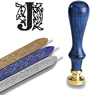 Initial Wax Seal Kit - Blue Wood Handle with Gold/Sapphire/Silver Sealing Wax (Letter J)