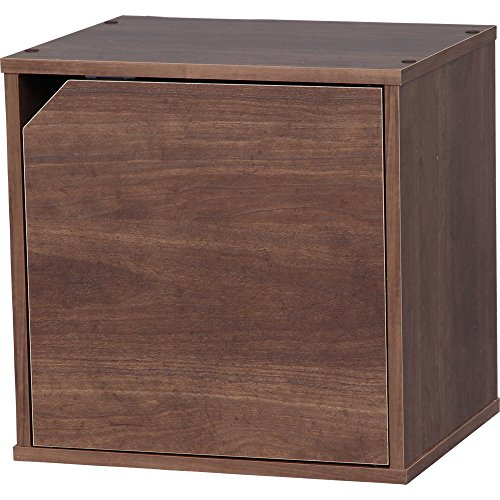 アイリスオーヤマ カラーボックス キュビック 幅34.9×奥行29×高さ34.4cm ブラウン ドア付 CQB-35D