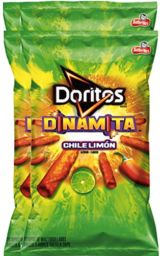 Doritos Dinamita Chile Limon Rolled Flavored Tortilla Chips, 9.25 oz Snack Care Package for College, Military, Sports (4)
