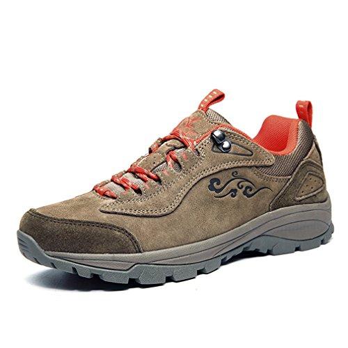 XIANG GUAN Femme Suède Imperméable Outdoor Sport Chaussures de Randonnée Trekking Trail Marche Shoes (EU 37, Khaki)