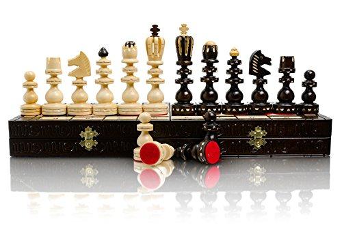 Juego de ajedrez de madera de lujo ROMANO de 53 cm / 21 pulgadas, hecho a mano, juego de ajedrez tallado a mano