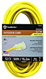 Southwire 2588SW0002 Outdoor Extension Cord- 12/3 American Made SJTW Heavy Duty 3 Prong Extension Cord- Great for Commercial Use, Gardening, and Major Appliances ( 50 Foot- Yellow)