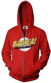 Bazinga! Red Adult Zip Up Sweatshirt Hoodie