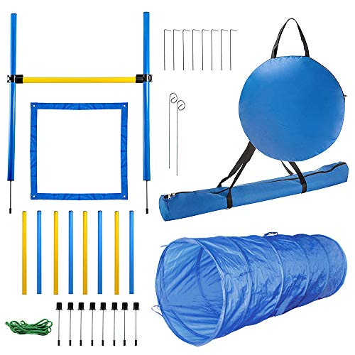 PAWISE Dog Agility Training Equipment Dog Obstacle Course for Training Dog Jumping Hurdle Pet Agility Tunnel