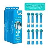 happybrush Aufsteckbürsten 8 Stück (4x2) für elektrische, rotierende Zahnbürsten   Original Ersatzbürsten 8er Pack   Wechselköpfe kompatibel mit Oral-B PRO, TriZone, Professional Care (blau)