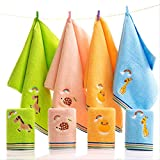 Set Asciugamani, 4 Asciugamani in Cotone, Assorbimento d'Acqua Asciugamano per La Casa, Asciugamano per Bambini, Asciugamano per La Scuola Materna, Morbido E Assorbente, Asciugamano per Il Viso