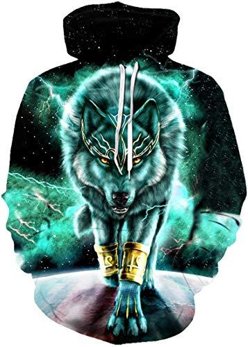 Chaos World Herren 3D Druck Kapuzenpullover Langarm Sweatshirt Mit Taschen Halloween Hoodie(Grün Wolf,2XL)