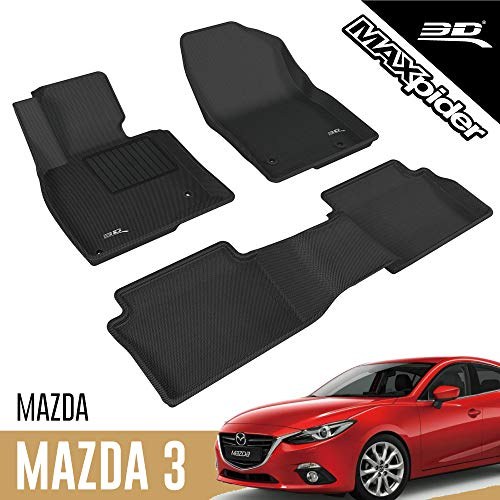 3D MAXpider All-Weather Floor Mats for Mazda 3 Mazda3 2014-2018 (2nd Row with seat belt cover) Custom Fit Car Floor Liners, Kagu Series (1st & 2nd Row, Black)