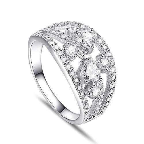 PRAK Damen 925 Sterling Silber Ringe,Einfache Art und Weise hohl Sekt mit Intarsien zirkon Form eleganter Stil Ring für Damen Geburtstagsgeschenk Zubehör von Drittanbietern, 8 (Durchmesser: 18,1 mm)