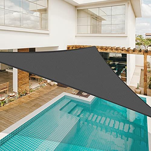 Sunnylaxx Voile dombrage Triangulaire 5 x 5 x 5 mètres, imperméable et résistante, pour Jardin terrasse, Couleur Gris