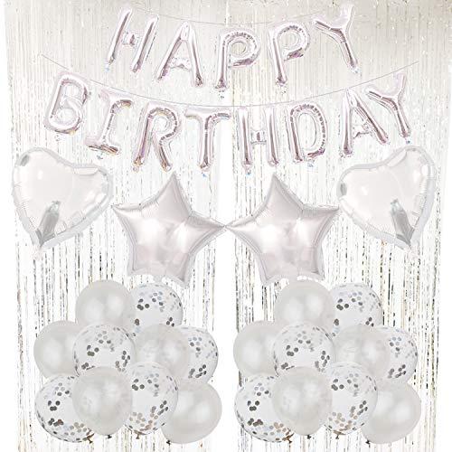 Zerodeco Geburtstagsfeier Dekoration, Silber Happy Birthday Buchstaben Ballons Folienvorhänge Mylarfolie Stern und Herzform Ballons Konfetti Luftballons - Perfekte Geburtstags Party Deko Zubehör