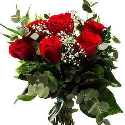 Florclick - Ramo de 6 Rosas rojas con verdes decorativos, papabel y pi