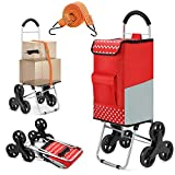 Popolic Shopping Trolley,2in1 Folding Shopping Cart with Aluminium Handles 65l Capacity Hand Truck Loading 50kg/Adjustable Bungee Cord/Lightweight Stair Climbing Cart with Large Noiseless 6-Wheels